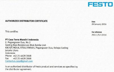 Festo authorized distributor certificate pt casa terra mandiri blob altavistaventures Choice Image